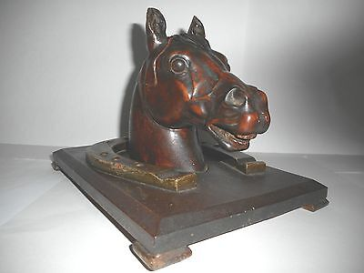 Antique 19Th C Carved Swiss Black Forest Horse's Head & Shoe Inkwell, Glass Eyes