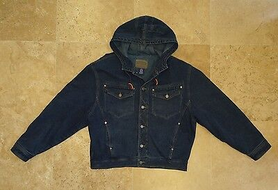 Gap Denim Mens Heavy Jean Jacket Hooded coat Quilted Lining size XL EUC