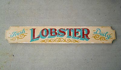 Hand Painted Wooden Lobster Sign Vintage Nautical Decor