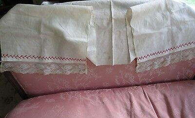 "Antique Lace Trimmed  Embroidered Linen Show Towel Hand Bath or Kitchen 15"" x61"""