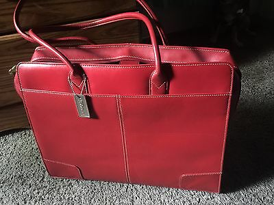 Targus Red Leather Laptop Bag Briefcase