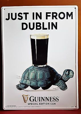"Guinness SPECIAL EDITION CAN ""Just in From Dublin"" TURTLE wall tacker sign"
