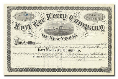 Fort Lee Ferry Company of New York Stock Certificate (1880's)