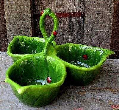 Cute Ladybug & Cabbage Leaf Three Compartment Tray Home & Garden Serving Bowl