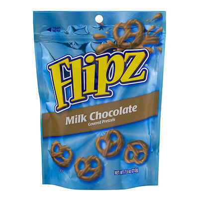 New Sealed Flipz Milk Chocolate Covered Pretzels 7.5 Oz Free Worlwide Shipping