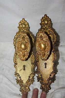 Antique 1903 Brass Oval Door Knobs & Plates FANCY Repousse Roses Custom 5 of 5