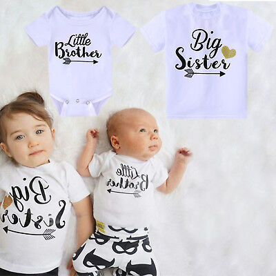 Baby Kids Family Matching Suit Big Sister T-shirt Little Brother Romper Playsuit