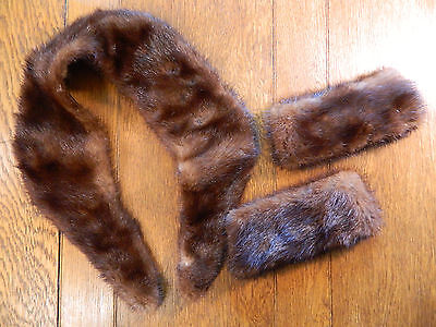Vintage MINK COLLAR and CUFFS Set Lined ready for attaching BROWN