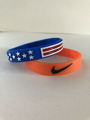Nike & USA Flat Sport Baller Band Silicone Rubber Bracelet Wristband(Set of 3)