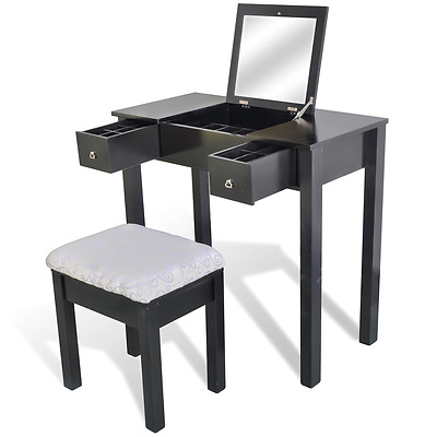 80cm Vanity Makeup Dressing Table Stool Mirror Jewellery Storage Drawers Set