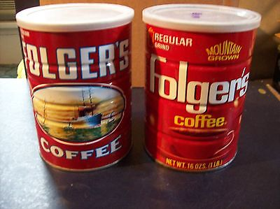 Folgers Coffee 1 Lb Metal Cans With Lids Lot Of 2 Great Condition