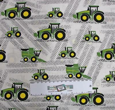 Patchwork Quilting Fabric JOHN DEERE TRACTOR WHITE B/G Cotton FQ 50X55cm NEW
