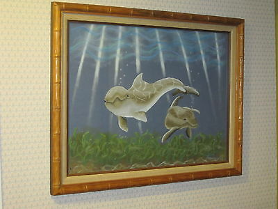 "Large Original Pastel Artwork - Dolphins in Bamboo Frame 18"" x 24"" /    D 21"