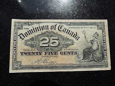 1900 DOMINION OF CANADA 0.25 CENTS PAPER BOVILLE SIGNATURE SHINPLASTER DC-15b