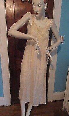 Antique Victorian Ladies Edwardian Silk Nightgown Crocheted Lace