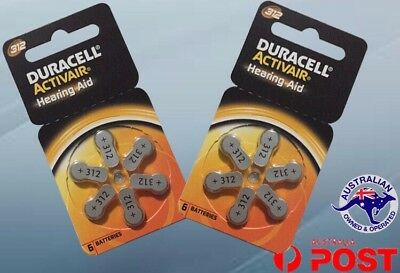 Duracell 312 Activair hearing aid batteries Size 312 2 cards 12 cells New Sealed