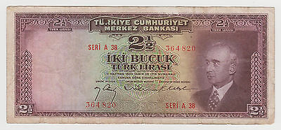 1947 Turkey 2 & 1/2 Lira Banknote  Pick 140  A 38 364820