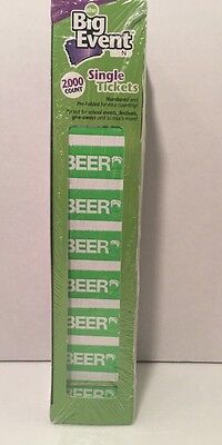 2000 Beer Numbered Event Drink Food Carnival Raffle Tickets - Green