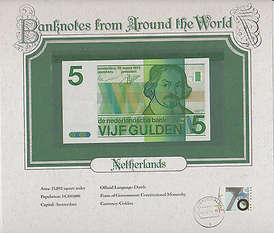 1973 Netherlands 5 Gulden Pick 95 Unc Banknotes From Around The World