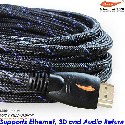 4K Ultra FHD Premium HDMI Cable 26AWG Gold Plated 3D High Speed Ethernet 15m 20m