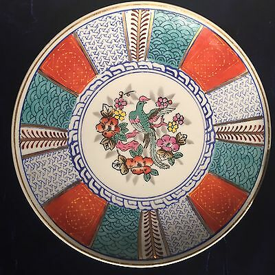 Antique Japanese Imari Large Porcelain Charger Plate With Bird And Floral Design