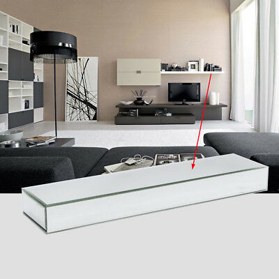 Bevelled Edge Clear Silver Mirror Floating Shelf Wall Mounted Storage Display