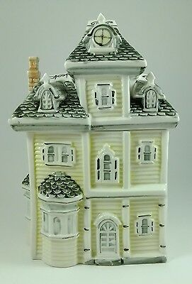 Vintage Yellow Victorian Two Story House Cookie Jar Canister with Bay Window