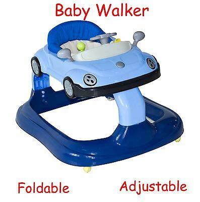 Baby Walker Adjustable Foldable Seat Activity Centre Racing Car Kids Ride On Toy