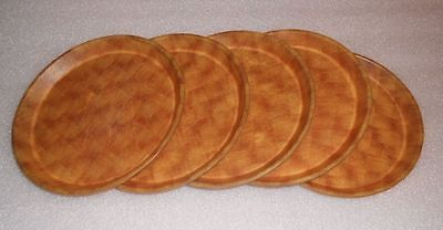 "Qty 5 Cambro Camtray 9"" Round NSF Serving Trays Fiberglass Basketweave 900302"