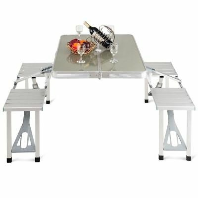 Aluminum Folding Camping Picnic Table With 4 Seats Portable Set Outdoor Garden B