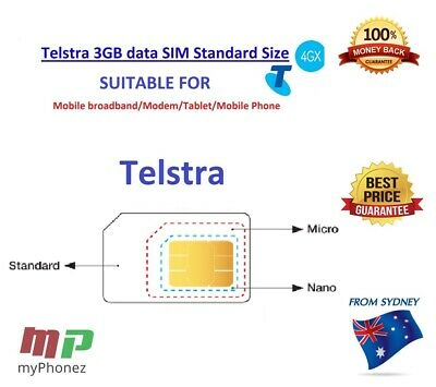 Telstra 3GB Data Card Triple Cut Sim Expiry Dec 2019 Fast ship BUY5GET1FREE