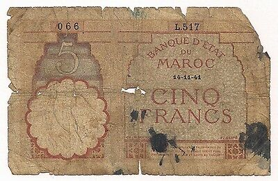 Morocco 5 Cinq Francs French Africa Lucky Number 066 Paper Money Note Banknote