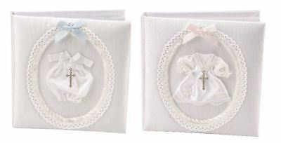 White Fabric Christening Day Photo Album with 3D Outfit & Cross - Boys or Girls