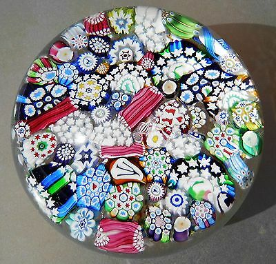 """John Deacons """"MAGNUM CRYSTAL CLEAR END OF DAY SCRAMBLED MILLEFIORI"""" Paperweight"""