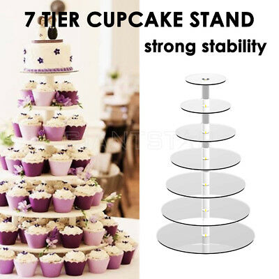 7 Tier Acrylic Round Cupcake Cake Cookies Stand Display Party Wedding Birthd AU