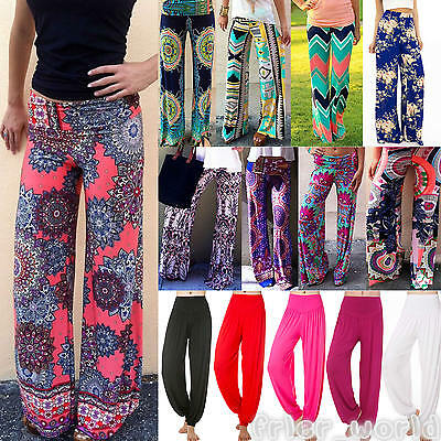 Women Palazzo Harem Pant Hippie Wide Leg Gypsy Yoga Casual Long Trousers Bottoms