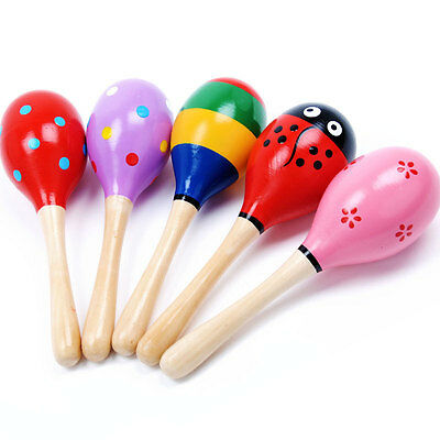 2 Pcs Kid Baby Child Maraca Rattle Shaker Musical Toy Wooden Percussion Favor