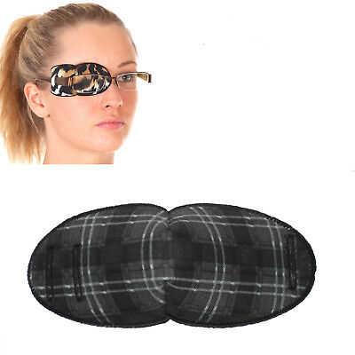 Medical Eye Patch for Glasses, GREY TARTAN - Regular Sold to the NHS