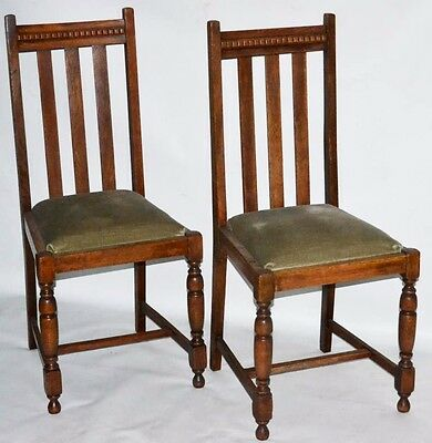 Set of 2 Vintage English Oak Dining Chairs - FREE Shipping [PL1873B]