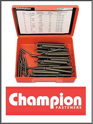 "48 x CHAMPION CA101 Assortment Extension Springs 1"" - 4.75"" (L) 3/16""-1/2"" (D)"