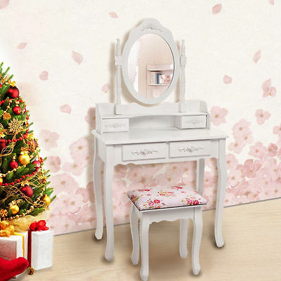 MDF+Pine White Dressing Table Makeup Desk with 4 Drawers Mirror Set & Stool