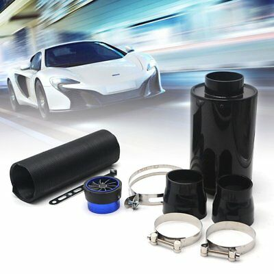 """3""""Car Carbon Fibre Air Intake Filter Induction Kit Fan Cold Air Feed Pipe Clamps"""