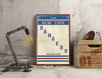 New York Rangers NHL A3 Picture Art Poster Retro Vintage Style Print Ice Hockey