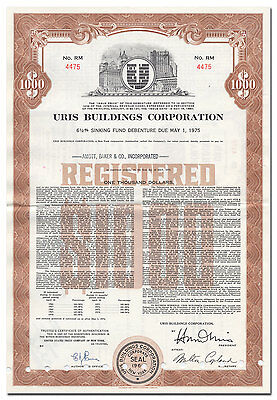 Uris Buildings Corporation Bond Certificate