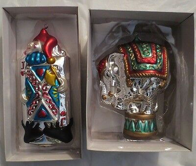 Dept. 56 Lg. Mercury Glass Ornaments (2) Jack Of Hearts & Circus Elephant Iob