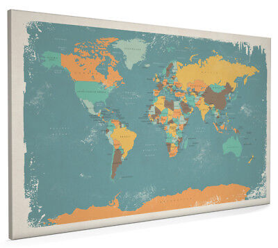 Watercolour political map of the world box canvas and poster print retro political map of the world box canvas and poster print 1096 gumiabroncs Gallery