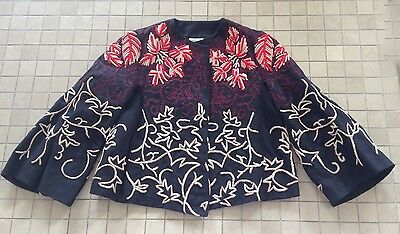 Vintage DRIES VAN NOTEN Black Hemp Jacket Embellished w/ Beads & Embroidery 38/S