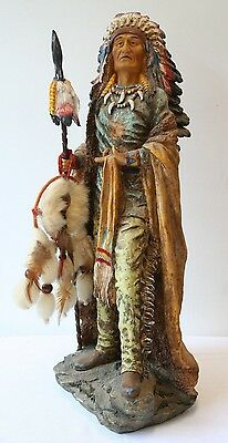 """Large Native American Indian Chief Statue Sculpture 22"""" DWK 2002 Limited Edition"""