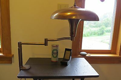 Vintage Art Deco Mid Century Modern Brass Copper Clamp-on Table Lamp re-wired