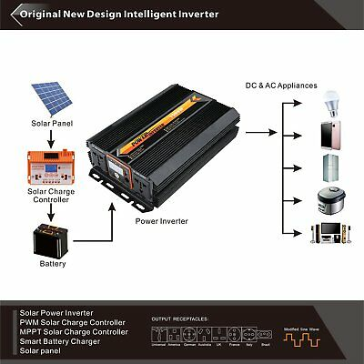 LCD Pure Sine Wave Power Inverter 600W 12V/24V to 110V/220V with USB Off Grid